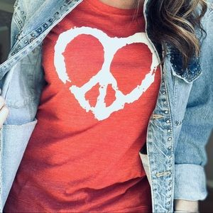 Tops - Peace and Love red graphic tee t-shirt top New!